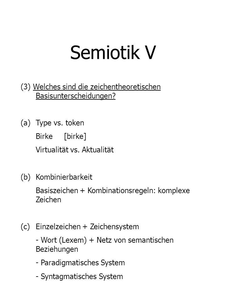 Semiotik V (3) Welches sind die zeichentheoretischen Basisunterscheidungen Type vs. token. Birke [birke]
